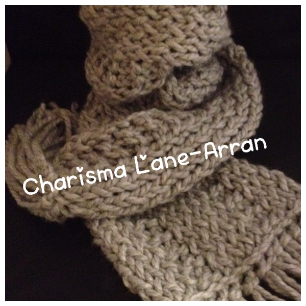 Light Grey Chunky Knit Scarf