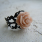 Pink Rose Filigree Ring, Adjustable, Boho Style, Shabby Chic