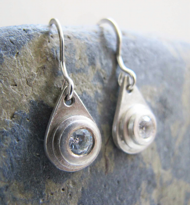 Sterling silver tear-drop earrings