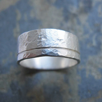 Men's silver hammered wedding band ring