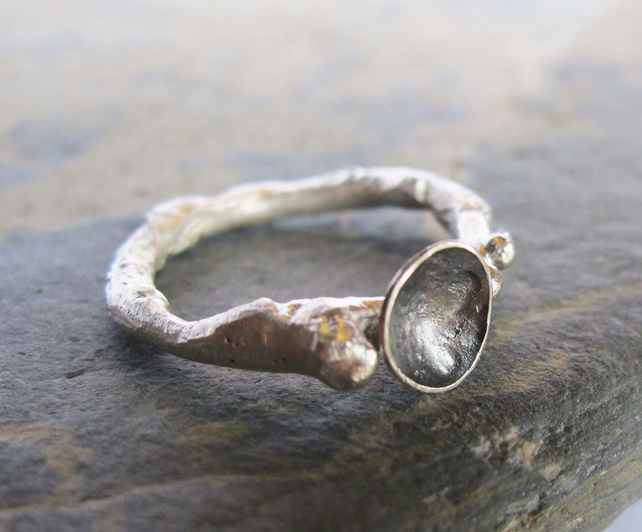 Sterling silver pebble ring-  oxidized silver ring