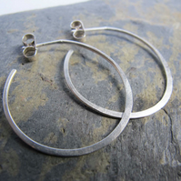 Circular hoop earrings - handmade from sterling silver