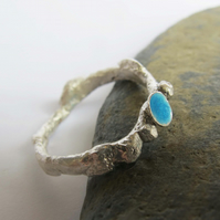Rustic sterling silver ring with turquoise glass