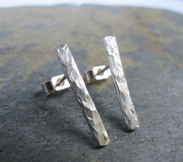 Hammered bar sterling silver earrings