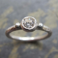 Engagement ring in sterling silver