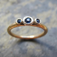 Sapphire engagement ring- handmade in gold and silver