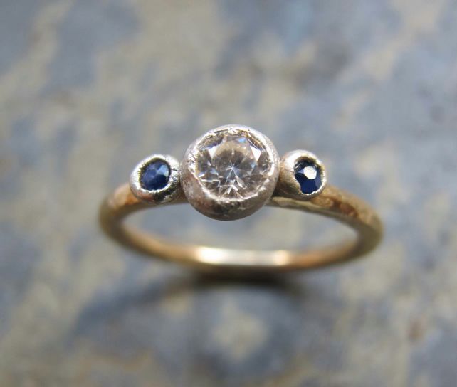 Engagement ring - handmade gold sapphire engagement ring