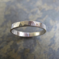 Women's hammered silver wedding ring