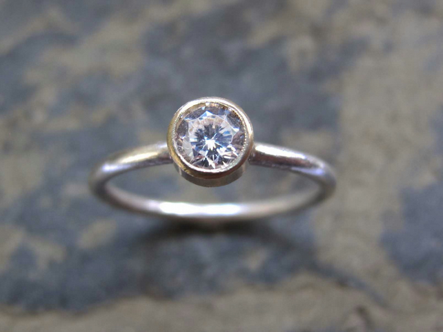 Solitaire diamond engagement ring - Handmade gold engagement ring