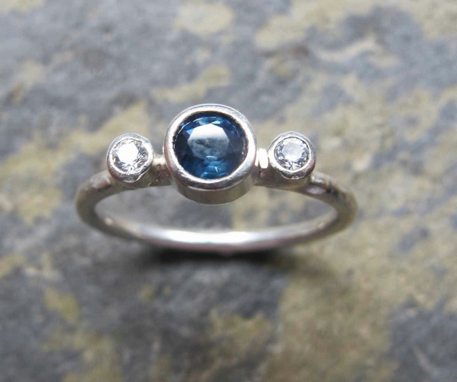 Sapphire engagement ring- Blue sapphire and white gold ring