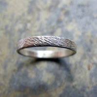 Women's wave hammered silver wedding ring