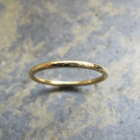 Hammered thin gold wedding ring
