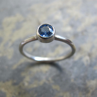 White gold solitaire Sapphire engagement ring -Handmade gold engagement ring