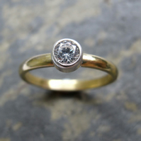 18ct  gold solitaire diamond engagement ring - Handmade gold engagement ring
