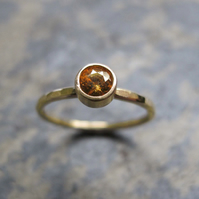 Gold solitaire yellow sapphire engagement ring -Handmade gold engagement ring