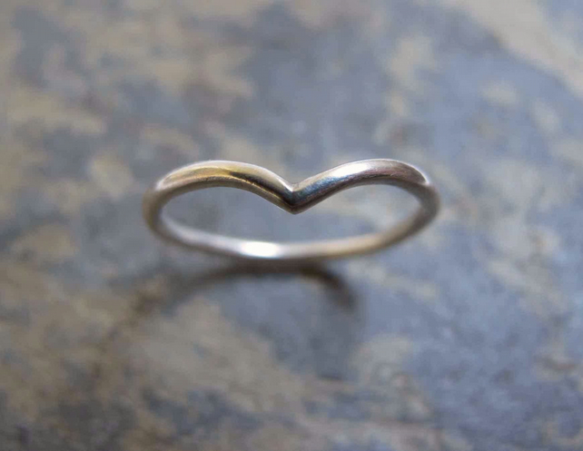 Wishbone shaped silver band ring - V shaped silver wedding ring
