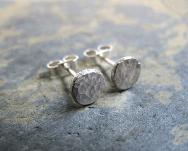 Silver stud earrings with a hammered surface