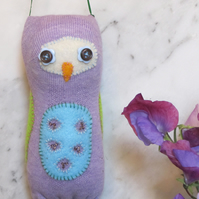 Purple Sock Owl Hanging Decoration