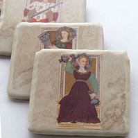 Ceramic Tarot Card Coasters x 4
