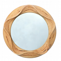 Round decorative wooden wall hanging mirror - For bedroom or living space