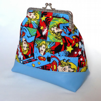 Kiss Clasp Bag made from Supergirl Fabric