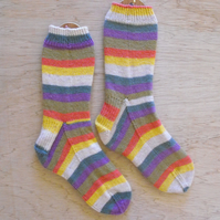 Hand knitted socks: Dr. Who-LARGE, size 9-11