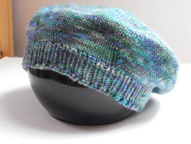 Hand knitted extra slouchy beret