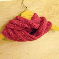 SALE: hand knitted hot pink infinity scarf