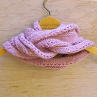 SALE: hand knitted rose pink infinity scarf