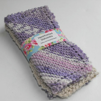 Hand knitted cotton dishcloth set of 3