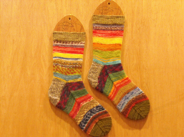 Hand knitted socks, multi-coloured, MEDIUM size 5-7