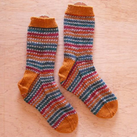 Hand knitted socks, PHEASANT, LARGE size 9-11
