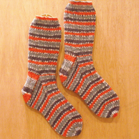 Hand knitted socks, BULLFINCH, LARGE size 9-11