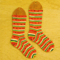 Hand knitted socks MEDIUM size 5-7 LIMITED EDITION WATERMELON DESIGN