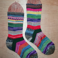 Hand knitted socks - multi coloured - MEDIUM size 5-7