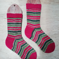 Hand knitted socks, SMALL size 4-5