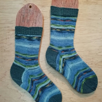 Hand knitted socks, MONET WATER LILIES - SMALL size 4-5