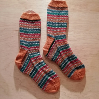 Hand knitted socks, PHEASANT, LARGE, size 9-11
