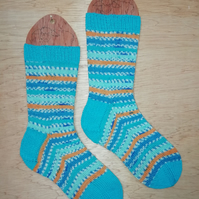 Hand knitted socks, KINGFISHER, MEDIUM, size 5-7