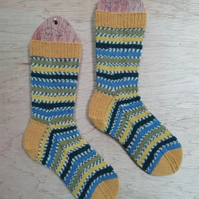 Hand knitted socks, BLUE TIT, MEDIUM, size 5-7