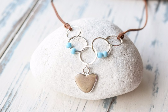 Beach Pebble Heart Necklace in Fine Silver