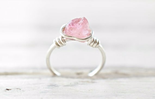 Pink Tourmaline and Fine Silver Ring