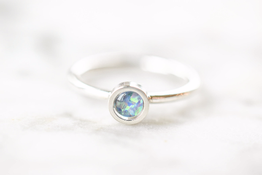 Australian Black Opal Ring in Fine and Sterling Silver