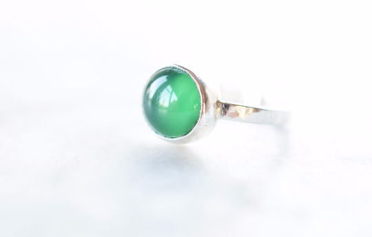 Green Onyx and Fine Silver Ring