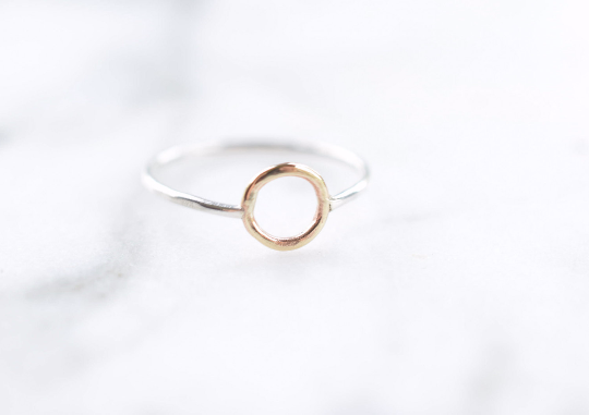 Gold and Fine Silver Halo Ring