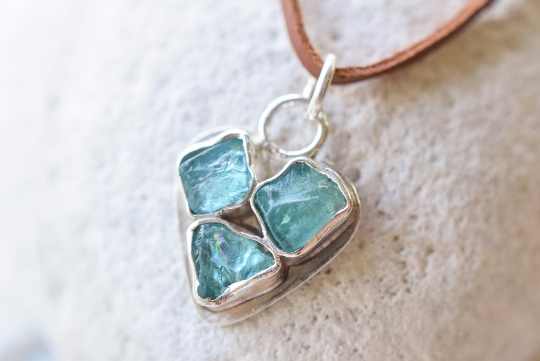 Blue Apatite Crystal and Fine Silver Heart Pendant Necklace
