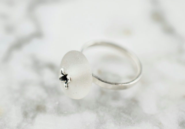 Sea Glass Ring in Fine and Sterling Silver