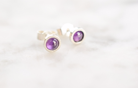 Amethyst Stud Earrings in Sterling Silver