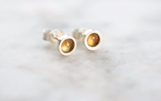 Citrine Stud Earrings in Sterling Silver