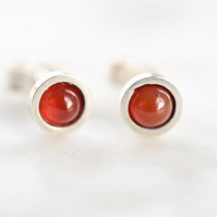 Carnealian Stud Earrings in Sterling Silver